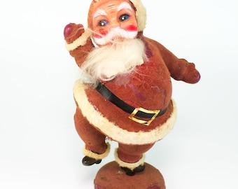 Old Hard-Plastic Flocked Santa Claus Mid-Century Holiday