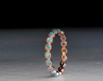 Red Gold ring - Opal gemstone ring - Blue stone ring