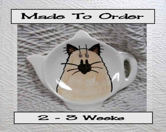 Himalayan Siamese Cat Tea Bag Holder Handmade Ceramic by Grace M. Smith