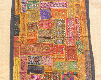 Old Antique Indian patchwork wall tapestry/Gypsy bohemian tribal wall curtain/Vintage banjara style wall hanging/handmade Embroidery textile