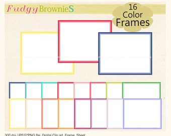 ON SALE Classic rectangular digital clip art frames, clipart rectangular frames ,digital school art .A-202