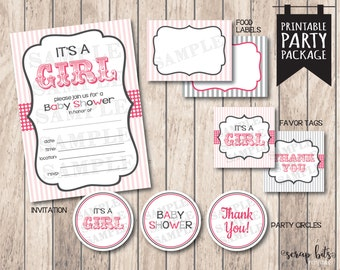 Instant Download . It's a Girl Circus Baby Shower Party Package -- Printable Invitation, Favor Tags, Party Circles & Food Labels