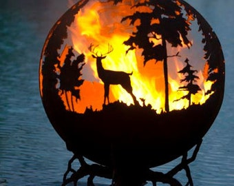 Up North Fire Pit - Custom Outdoor Hand Cut Steel Deer Firepit Sphere