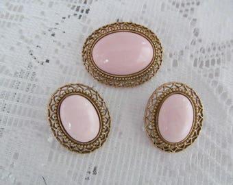 Pink Oval Cabochon Brooch Earrings Set Demi Parure Vintage Jewelry Set