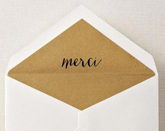Merci Rubber Stamp, Calligraphy Stamp, Custom Rubber Stamp, Wood Handle or Self Inking