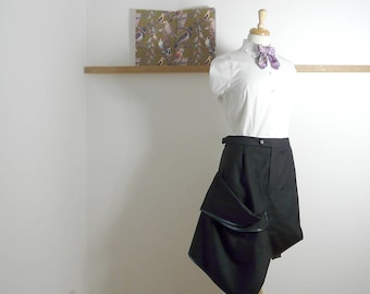 Size L - Suit Drape Skirt in Grey - Upcycled - (37.25inch)
