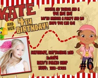 Izzy Invitation, Izzy  Birthday Invitation, Jake and Neverland Pirates Birthday Party Digital Invitation 4x6 or 5x7