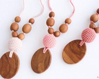 Silk & Wood Nursing Necklace    Teething Necklace   Breastfeeding   Teething Beads   New Mom Gift   NP35