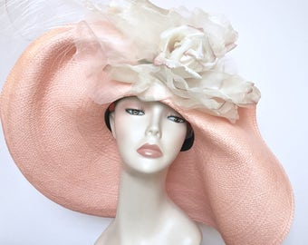 Kentucky Derby Hat Pink Easter Hat Church Hat Wide Brim - LAST ONE