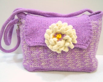 Fully Lined Felted Wool Purple Purse With Flower, Wool Shoulder Bag, Knit Felted Wool Purse, Orchid Boiled Wool Bag, Lavender Wool Felt Bag