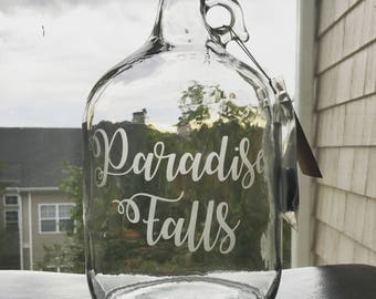 Paradise Falls - Etched Glass Gallon Jar