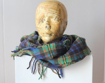 Vintage Scarf Shawl Blue Green Yellow Red Tartan Plaid wool lambswool nylon blend side fringe