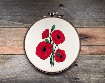 Red Poppy Floral Embroidery Hoop - Mother's Day Gift | Wall Art | Modern Embroidery | Home Decor Gift | Hand Embroidery | Hoop