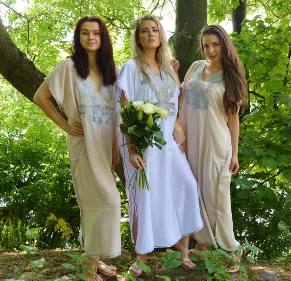 Set of 10+Bridesmaid robes,Bridesmaid gifts, Beige Silver Marrakech One Size Moroccan Kaftan-Beach wedding, bridal shower party, baby shower