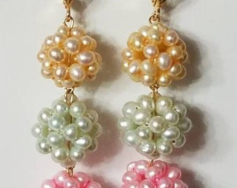 NEW Amazing Genuine Rainbow Pearl and Solid Gold 14K Earrings