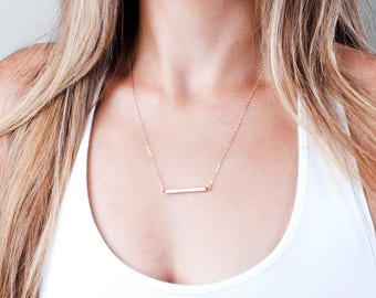 Rose Gold Bar Necklace, Minimalist Necklace, Bar Necklace, Simple Necklace, Layered Necklace, Rectangle Necklace, Sterling Silver, Gold Bar