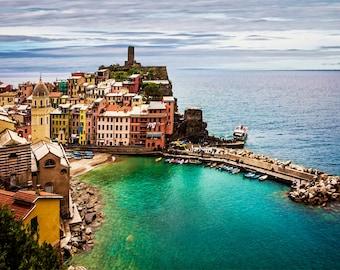 Cinque Terre, Vernazza Photo, Italy Landmark, Seascape Decor, 5 Villages of Cinque Terre, Italy Wall Decor, Fine Art Photograph