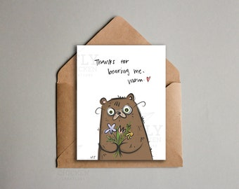 Cute Nerdy Bear Mother's Day Card - Thanks Mom Printable - Nerdy Animal Pun - Instant Download - Mother's Day or Birthday Card for Mom