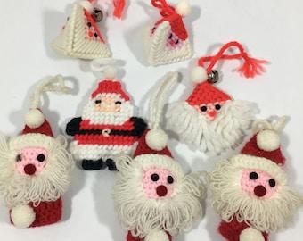 Vintage Handmade Knitted Crocheted Santa Christmas Ornaments Set of Seven