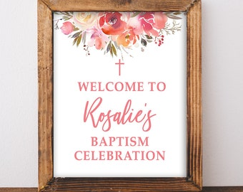 Baptism Welcome Sign, Personalized Baptism Celebration Sign, Peach Coral Watercolor Floral Welcome Sign, DIY PRINTABLE