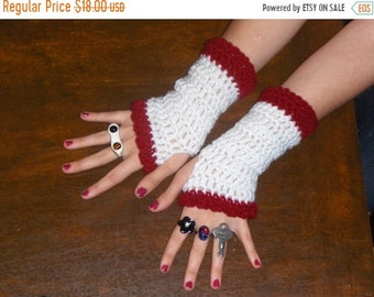 The Raggedy Ann Fingerless Victorian Gloves Red frilly  handmade boho handmade fingerless gloves arm warmers. White acrylic yarn cranberry