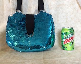 Blue silver mermaid reversible sequin round bag purse