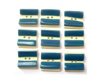 6 Buttons,  antique vintage, plastic, square shape, white and blue, 15mm proper for button jewelry