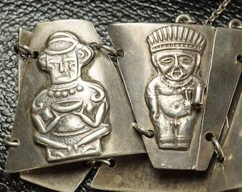 1950s Silver Aztec Panel Bracelet,