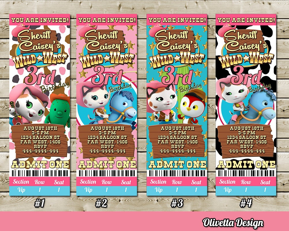 Sheriff Callie Invitation for Birthday Party Ticket Vip Pass