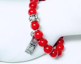 Red Bracelet, Cell Phone Charm, Charm Bracelet, Stretch Bracelet, Boho Bracelet, Phone Bracelet