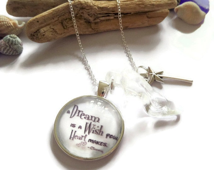 """A DREAM is a WISH Cinderella inspired 25mm 1"""" glass dome 24"""" silver tone chain necklace princess gift jewellery Uk"""