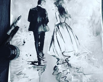 Wedding Invitation Original Watercolor Illustration, Parisian Romance, Illustrations by Lana Moes, Anniversary Gift, Honeymoon Mementos