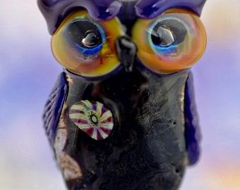 Calpernia..... lampwork owl  bead............ sra