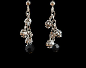 Fun black and silver plate earrings