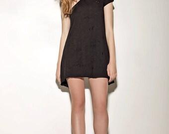 Black dress,White dress,Ripped cotton,Summer dress,Gift for mom,Gift for friend,Women gift,Egst,Island dress,Xmas gift,Off shoulder dress
