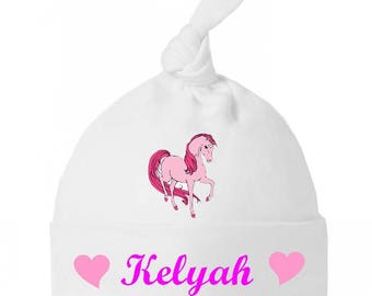 Baby Unicorn personalized with name baby knot Hat