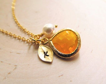Citrine Necklace, Gold Leaf with Initial, Gold Birthstone Jewelry, Citrine Jewelry, November Birthday Gift, Birthstone November Jewelry