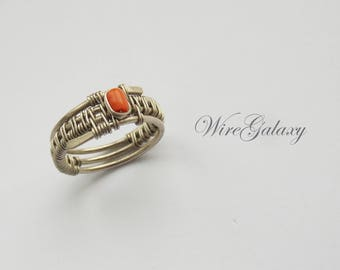 Orange Coral Ring Everyday Wrapped Jewelry Wire wrap Ring Contemporary Coral Wearable Art Weave Ring Coral Artisan