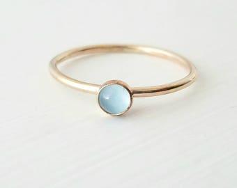 Gold Aquamarine Ring