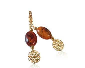 Boucles d'oreilles pierres de jaspe à Phoenix, boucles d'oreilles breloque d'or en filigrane fleur, cadeaux d'anniversaire pour vos cadeaux de Noël maman, longues boucles d'oreilles, pour petite amie