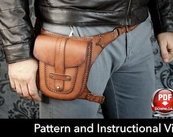 Hip Bag Pattern - Leather DIY - Pdf Download - Leather Pattern - Hip Bag Template - Unisex Bag Pattern - Bag Template