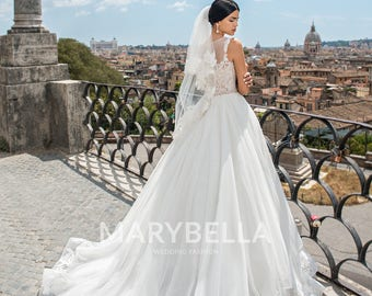 Illusion Bateua Tulle Wedding Gown Includes Veil