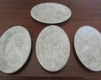 Set of Four Shenango China Sweet Grass Oval Salad/Side Plates/Peter Terris Design/Rim Rol /Wel Roc  #17270