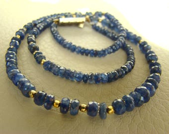 Vintage Necklace from Sapphires with silver gilt fittings.