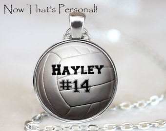 VOLLEYBALL  NECKLACE  with player's name and number - Personalized Volleyball necklace - Volleyball Player gift - sports jewelry