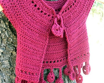 Dancing poppies baby bolero- PDF crochet pattern - baby cardigan sizes up to 2/3 yo - Easy crochet w/ Instant download