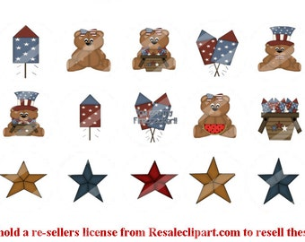 4th of July 1 inch bottle cap images 3 sheets