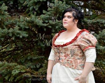 Jacobean Linen Jane Austen Regency Day Gown Dress Spencer short jacket pelisse