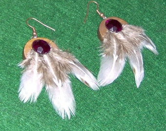 Custom Made! Chinese Pheasant Feather Earrings,Three Light Feather Earrings on Wooden Background with Copper Colored Hooks and Purple Gem