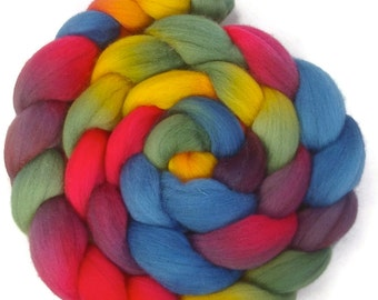 Handpainted Polwarth Wool Roving - 4 oz. ARCADE - Spinning Fiber